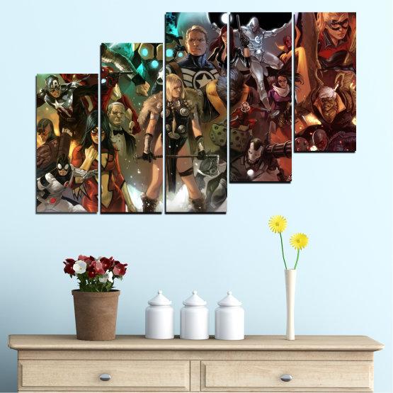 Декоративни панели и картини от канава - от 5 части №0441 » Кафяв, Черен, Сив, Тъмно сив » Детски, Анимационен, Отмъстители, Комикс Form #8