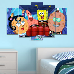 Children, Animated, Sponge bob » Blue, Turquoise, Black, Gray, Dark grey