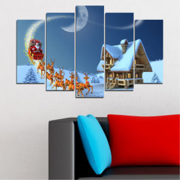 Night, House, Snow, Winter, Christmas, Santa claus, Holiday, Sled » Purple, Blue, Gray, Dark grey