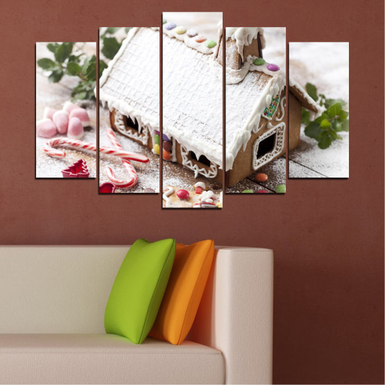 Canvas prints & wall decorative panels - 5 pieces №0444 » Brown, Gray, White, Dark grey » House, Pastry, Christmas, Holiday Form #1