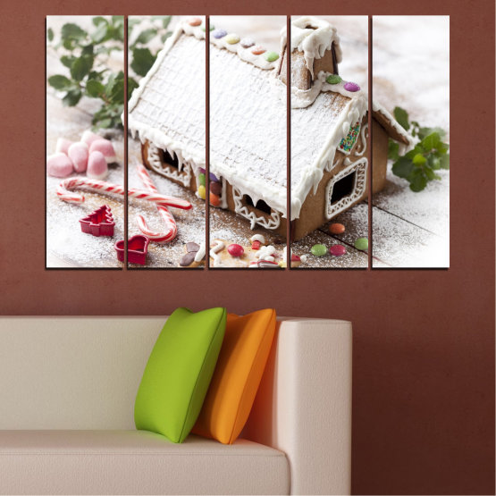 Canvas prints & wall decorative panels - 5 pieces №0444 » Brown, Gray, White, Dark grey » House, Pastry, Christmas, Holiday Form #2
