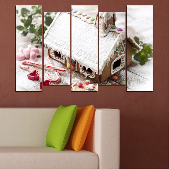 Canvas prints & wall decorative panels - 5 pieces №0444 » Brown, Gray, White, Dark grey » House, Pastry, Christmas, Holiday Form #3