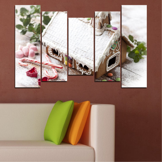Canvas prints & wall decorative panels - 5 pieces №0444 » Brown, Gray, White, Dark grey » House, Pastry, Christmas, Holiday Form #4