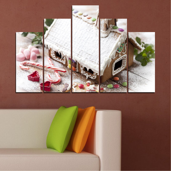 Canvas prints & wall decorative panels - 5 pieces №0444 » Brown, Gray, White, Dark grey » House, Pastry, Christmas, Holiday Form #5
