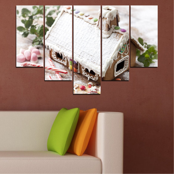 Canvas prints & wall decorative panels - 5 pieces №0444 » Brown, Gray, White, Dark grey » House, Pastry, Christmas, Holiday Form #6