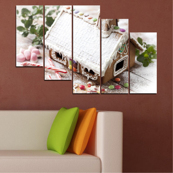Canvas prints & wall decorative panels - 5 pieces №0444 » Brown, Gray, White, Dark grey » House, Pastry, Christmas, Holiday Form #7