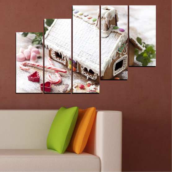 Canvas prints & wall decorative panels - 5 pieces №0444 » Brown, Gray, White, Dark grey » House, Pastry, Christmas, Holiday Form #8