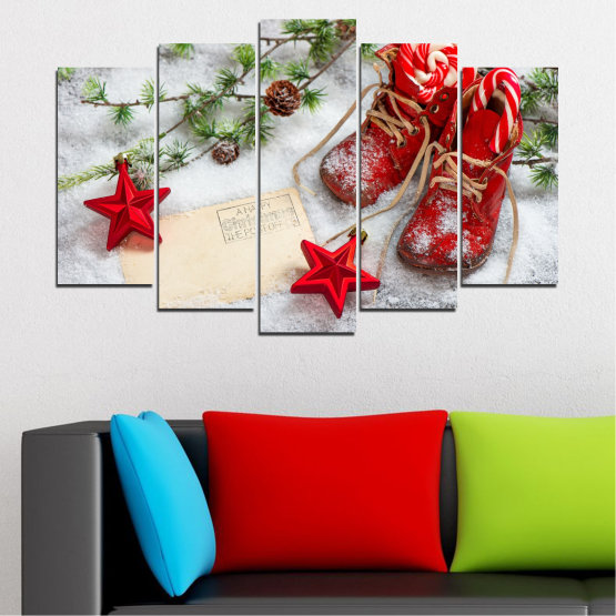 Canvas prints & wall decorative panels - 5 pieces №0445 » Brown, Gray, White, Beige » Decoration, Christmas, Holiday Form #1