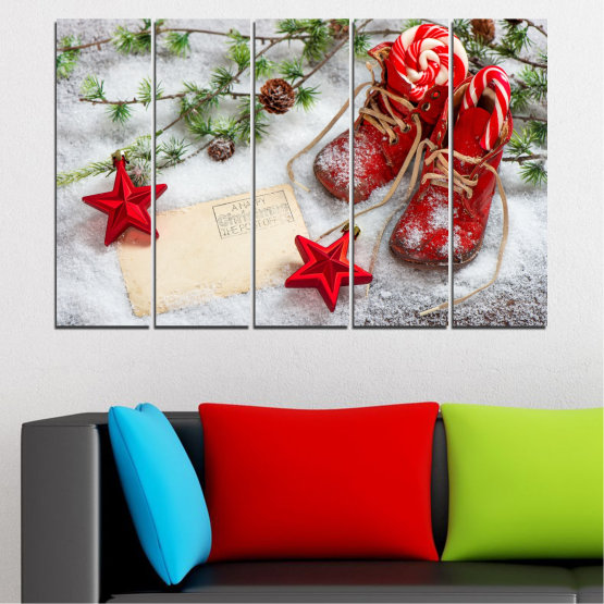 Canvas prints & wall decorative panels - 5 pieces №0445 » Brown, Gray, White, Beige » Decoration, Christmas, Holiday Form #2
