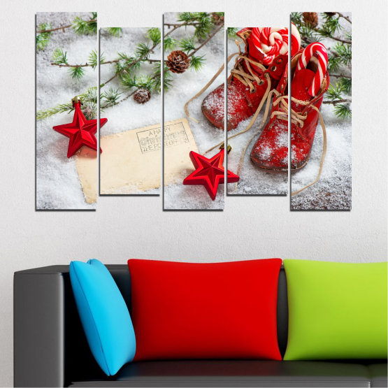 Canvas prints & wall decorative panels - 5 pieces №0445 » Brown, Gray, White, Beige » Decoration, Christmas, Holiday Form #3