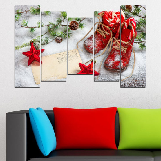 Canvas prints & wall decorative panels - 5 pieces №0445 » Brown, Gray, White, Beige » Decoration, Christmas, Holiday Form #4