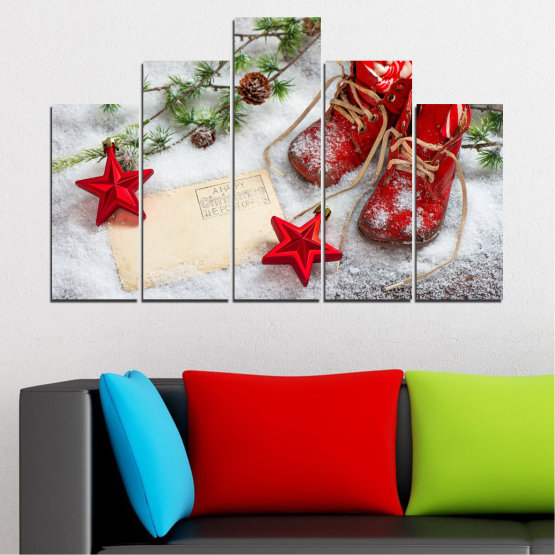 Canvas prints & wall decorative panels - 5 pieces №0445 » Brown, Gray, White, Beige » Decoration, Christmas, Holiday Form #5