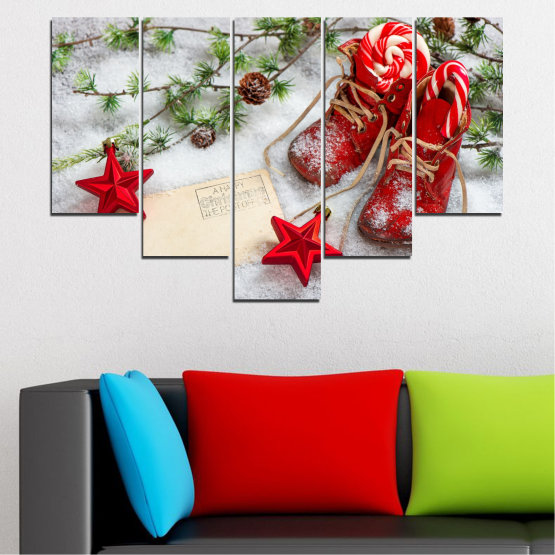 Canvas prints & wall decorative panels - 5 pieces №0445 » Brown, Gray, White, Beige » Decoration, Christmas, Holiday Form #6