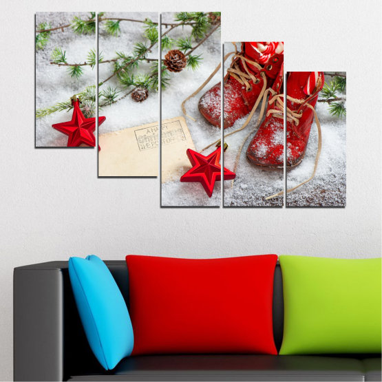 Canvas prints & wall decorative panels - 5 pieces №0445 » Brown, Gray, White, Beige » Decoration, Christmas, Holiday Form #7