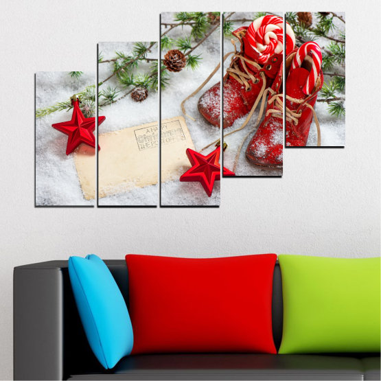 Canvas prints & wall decorative panels - 5 pieces №0445 » Brown, Gray, White, Beige » Decoration, Christmas, Holiday Form #8