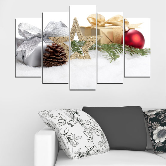 Canvas prints & wall decorative panels - 5 pieces №0446 » Brown, Gray, White, Beige » Decoration, Christmas, Holiday Form #1