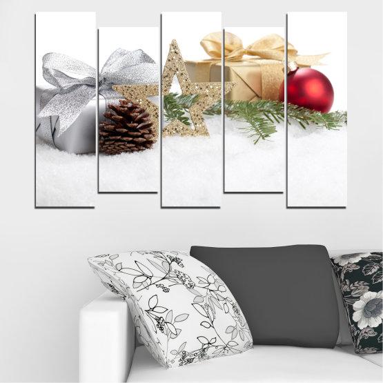 Декоративни панели и картини от канава - от 5 части №0446 » Кафяв, Сив, Бял, Бежов » Украса, Коледа, Празник Form #3