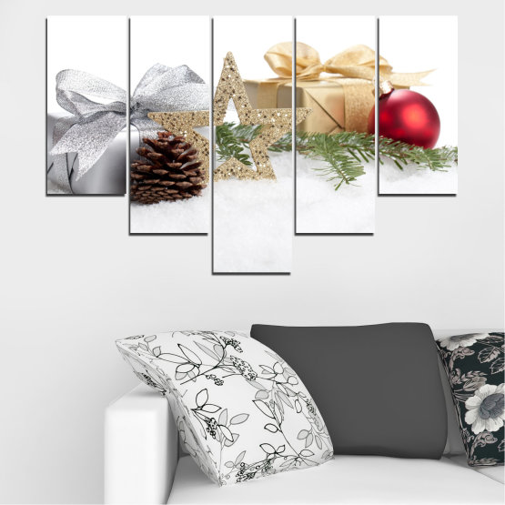 Canvas prints & wall decorative panels - 5 pieces №0446 » Brown, Gray, White, Beige » Decoration, Christmas, Holiday Form #6
