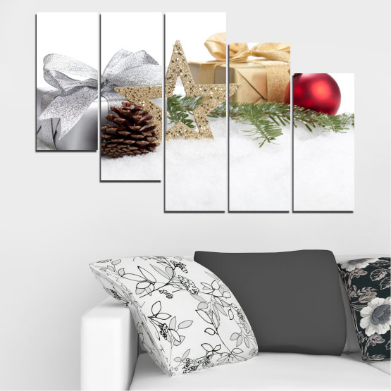 Декоративни панели и картини от канава - от 5 части №0446 » Кафяв, Сив, Бял, Бежов » Украса, Коледа, Празник Form #7