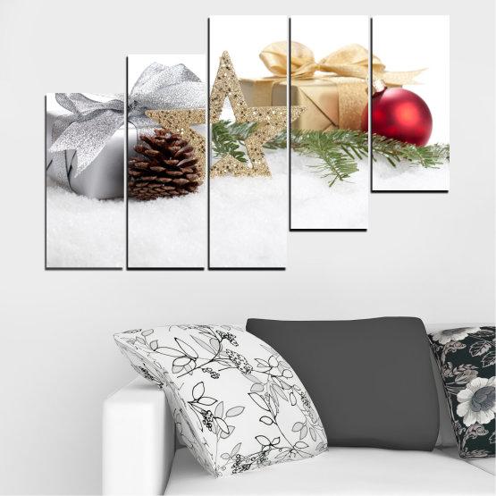 Декоративни панели и картини от канава - от 5 части №0446 » Кафяв, Сив, Бял, Бежов » Украса, Коледа, Празник Form #8