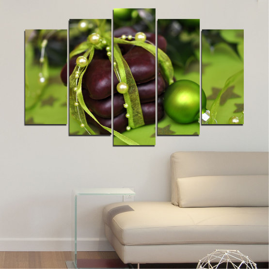 Canvas prints & wall decorative panels - 5 pieces №0447 » Green, Black » Decoration, Christmas, Pastry, Holiday Form #1