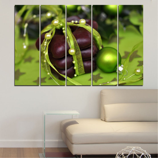 Canvas prints & wall decorative panels - 5 pieces №0447 » Green, Black » Decoration, Christmas, Pastry, Holiday Form #2
