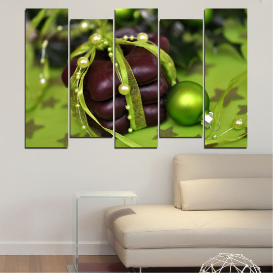 Canvas prints & wall decorative panels - 5 pieces №0447 » Green, Black » Decoration, Christmas, Pastry, Holiday Form #3