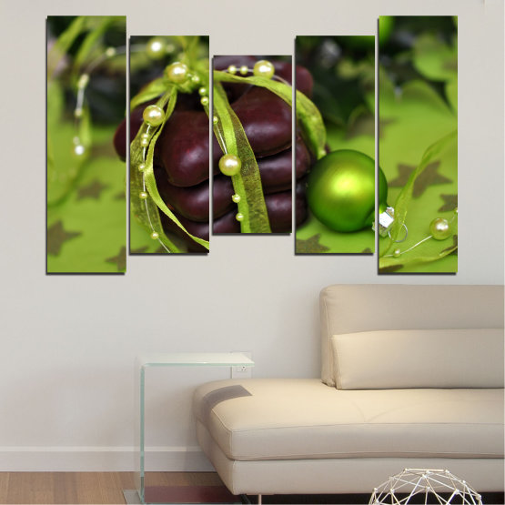 Canvas prints & wall decorative panels - 5 pieces №0447 » Green, Black » Decoration, Christmas, Pastry, Holiday Form #4