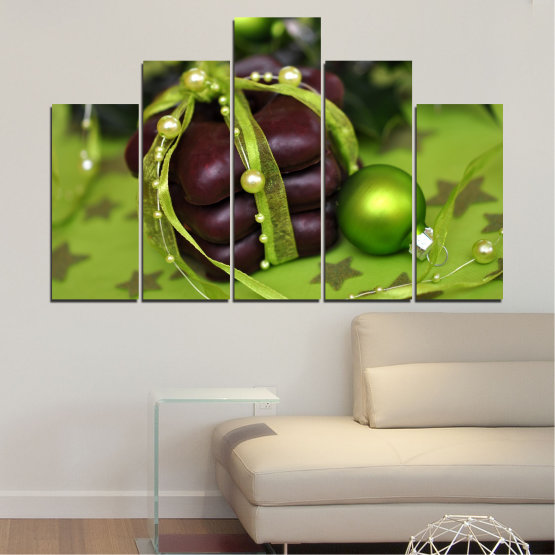 Canvas prints & wall decorative panels - 5 pieces №0447 » Green, Black » Decoration, Christmas, Pastry, Holiday Form #5