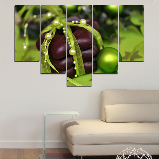 Canvas prints & wall decorative panels - 5 pieces №0447 » Green, Black » Decoration, Christmas, Pastry, Holiday Form #6