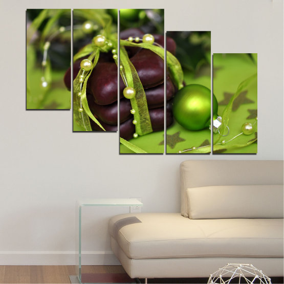 Canvas prints & wall decorative panels - 5 pieces №0447 » Green, Black » Decoration, Christmas, Pastry, Holiday Form #7
