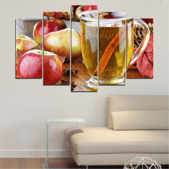 Canvas prints & wall decorative panels - 5 pieces №0448 » Red, Orange, Brown, Gray » Culinary, Fruits, Apples Form #1