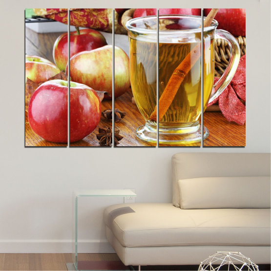 Canvas prints & wall decorative panels - 5 pieces №0448 » Red, Orange, Brown, Gray » Culinary, Fruits, Apples Form #2