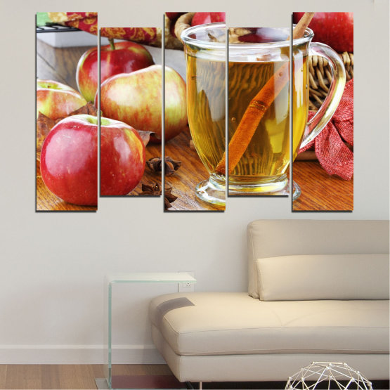 Canvas prints & wall decorative panels - 5 pieces №0448 » Red, Orange, Brown, Gray » Culinary, Fruits, Apples Form #3
