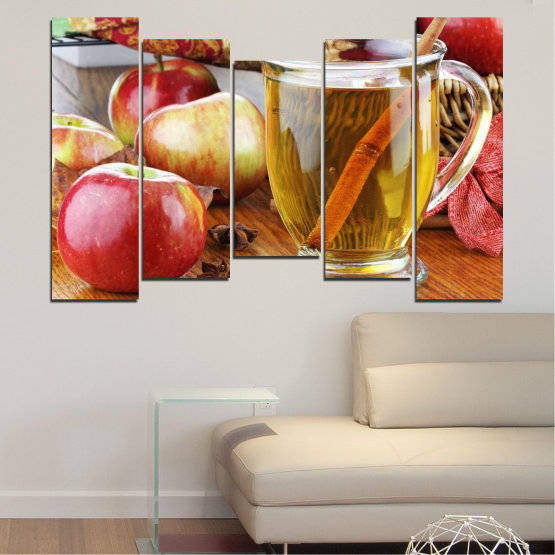 Canvas prints & wall decorative panels - 5 pieces №0448 » Red, Orange, Brown, Gray » Culinary, Fruits, Apples Form #4