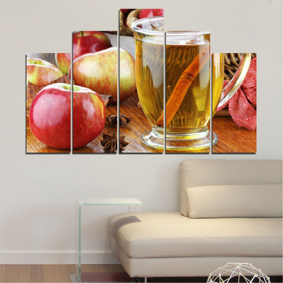 Canvas prints & wall decorative panels - 5 pieces №0448 » Red, Orange, Brown, Gray » Culinary, Fruits, Apples Form #5