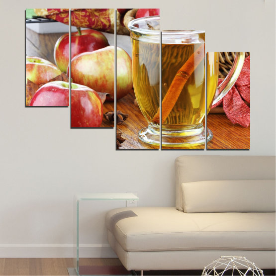 Canvas prints & wall decorative panels - 5 pieces №0448 » Red, Orange, Brown, Gray » Culinary, Fruits, Apples Form #7