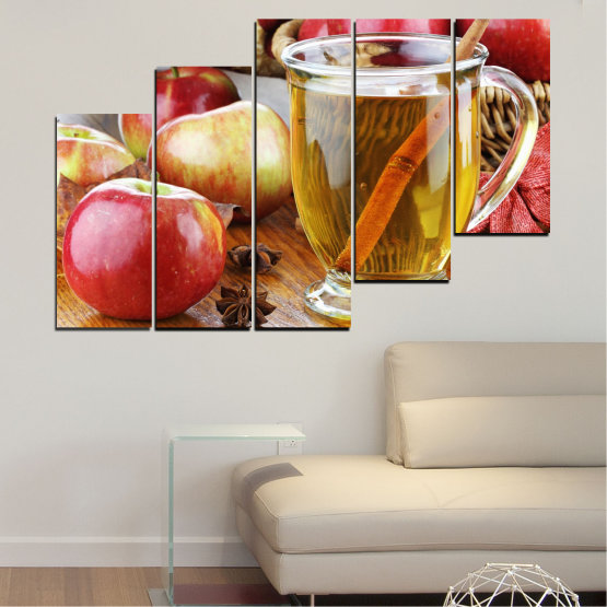 Canvas prints & wall decorative panels - 5 pieces №0448 » Red, Orange, Brown, Gray » Culinary, Fruits, Apples Form #8