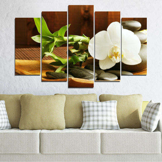 Canvas prints & wall decorative panels - 5 pieces №0449 » Brown, Black, Gray, White » Flowers, Feng shui, Orchid, Stones, Bamboo, Zen, Spa Form #1