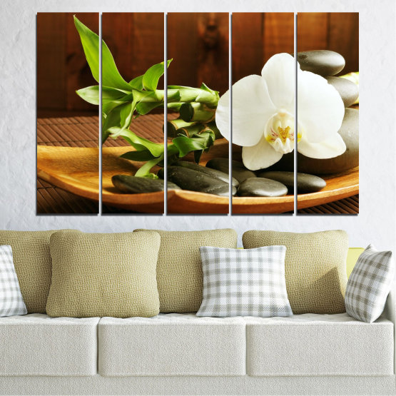 Canvas prints & wall decorative panels - 5 pieces №0449 » Brown, Black, Gray, White » Flowers, Feng shui, Orchid, Stones, Bamboo, Zen, Spa Form #2