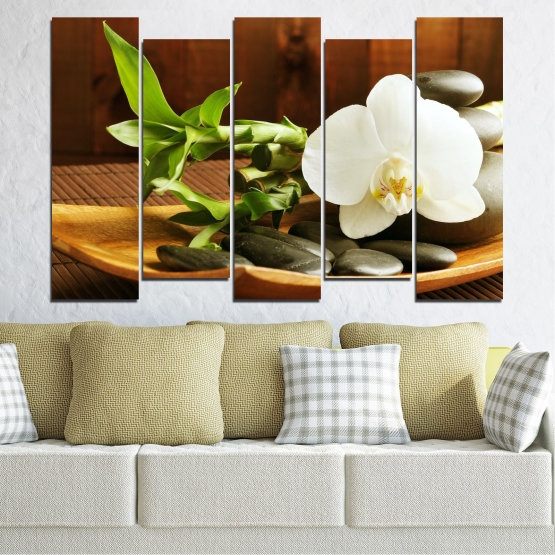 Canvas prints & wall decorative panels - 5 pieces №0449 » Brown, Black, Gray, White » Flowers, Feng shui, Orchid, Stones, Bamboo, Zen, Spa Form #3