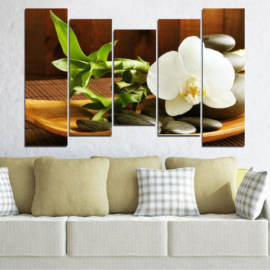 Canvas prints & wall decorative panels - 5 pieces №0449 » Brown, Black, Gray, White » Flowers, Feng shui, Orchid, Stones, Bamboo, Zen, Spa Form #4