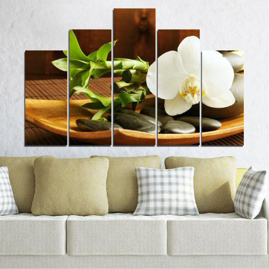 Canvas prints & wall decorative panels - 5 pieces №0449 » Brown, Black, Gray, White » Flowers, Feng shui, Orchid, Stones, Bamboo, Zen, Spa Form #5