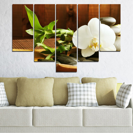 Canvas prints & wall decorative panels - 5 pieces №0449 » Brown, Black, Gray, White » Flowers, Feng shui, Orchid, Stones, Bamboo, Zen, Spa Form #6