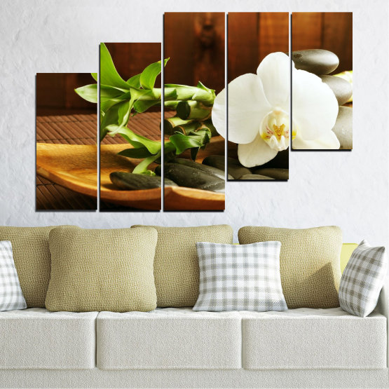 Canvas prints & wall decorative panels - 5 pieces №0449 » Brown, Black, Gray, White » Flowers, Feng shui, Orchid, Stones, Bamboo, Zen, Spa Form #8
