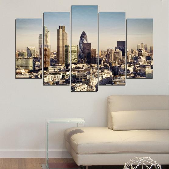 Canvas prints & wall decorative panels - 5 pieces №0450 » Black, Gray, Beige, Dark grey » Garden, View, Skyscraper, Capital, Great britain Form #1