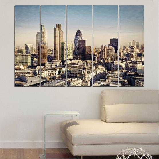 Canvas prints & wall decorative panels - 5 pieces №0450 » Black, Gray, Beige, Dark grey » Garden, View, Skyscraper, Capital, Great britain Form #2