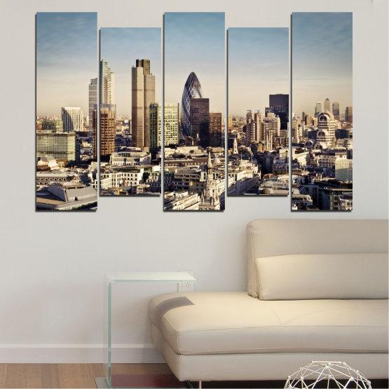 Canvas prints & wall decorative panels - 5 pieces №0450 » Black, Gray, Beige, Dark grey » Garden, View, Skyscraper, Capital, Great britain Form #3