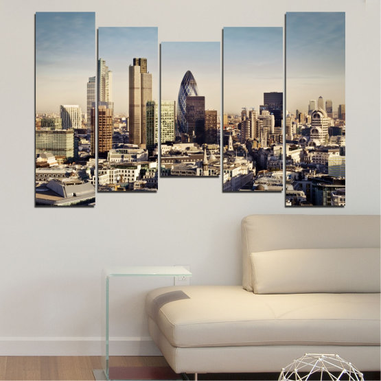 Canvas prints & wall decorative panels - 5 pieces №0450 » Black, Gray, Beige, Dark grey » Garden, View, Skyscraper, Capital, Great britain Form #4
