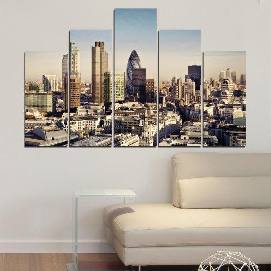 Canvas prints & wall decorative panels - 5 pieces №0450 » Black, Gray, Beige, Dark grey » Garden, View, Skyscraper, Capital, Great britain Form #5